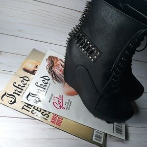 Shoes - 3D Spiked Punk Mid-Calf Wedged Boots w/Cross